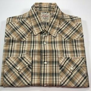 Lucky Brand Pearl Snap M Western Shirt Plaid Brown